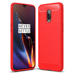 Flexi Slim Carbon Fibre Case for OnePlus 6T - Brushed Red
